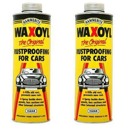 Hammerite Waxoyl Clear Shcutz Car Rust Remover Prevention Paint 1L x 2