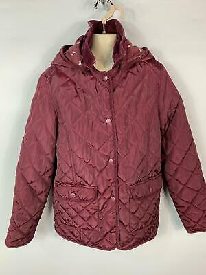 Girls Marks&Spencer Burgundy Dark Red Diamond Quilted Coat Kids Age 11/12 Years