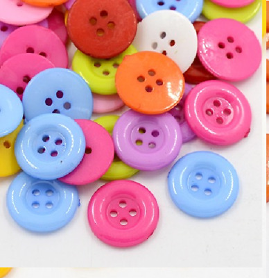 100 Bulk 12mm  Round Buttons  Craft Scrapbooking Bouquet Sewing Multi-Coloured