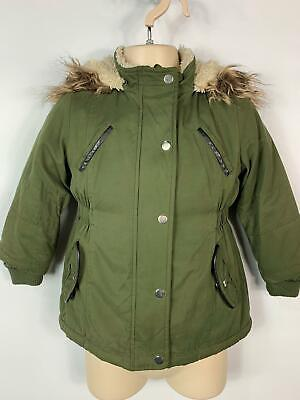 Girls Yd Young Dimension Green Hood Winter Parka Parker Coat Kids Age 2/3 Years