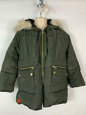 Girls Matalan Dark Khaki Green Hooded Winter Parka Parker Coat Kids Age 8 Years