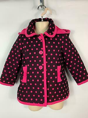 Girls Tu Brown Pink Pretty Polka Dot Winter Hooded Over Coat Kids Age 3/4 Years