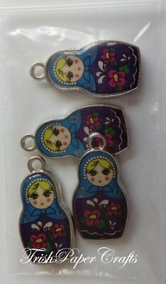 1 set of 4 Double-sided Enamelled RUSSIAN DOLL Charms ~ BLUE