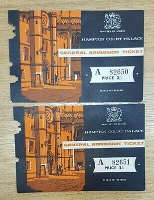 Two Ministry of Works Hampton Court Palace General Admission Ticket Stubs 2/-