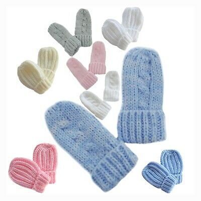Baby Mittens Mitts Gloves Knitted Cable Knit Winter Warm Girl Boy Newborn Babies