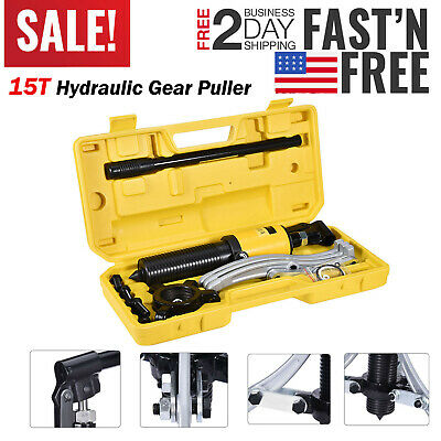 5T/10T/15T 3in1 Hydraulic Gear Puller Pumps Oil Tube 3 Jaws Drawing Machine US