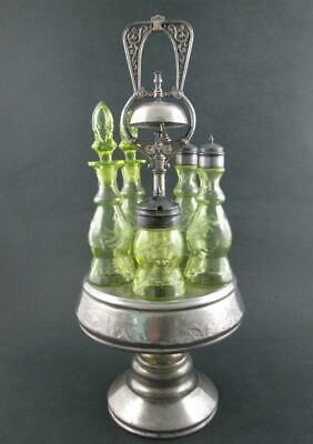 Antique VASELINE glass 5 Bottle CASTOR, cruet, Condiment Set - w/ BELL - MERIDEN