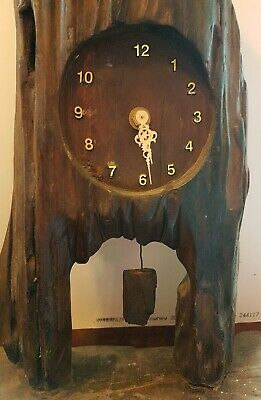 Vintage Yew, old Driftwood, Pendulum mantal Clock, changed to battery? Hand made
