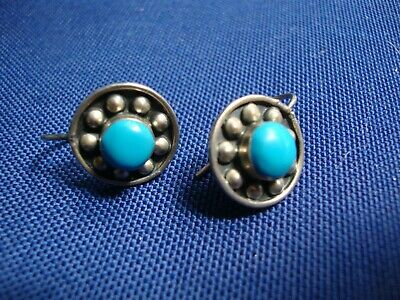 Grandmas Estate 925 Sterling Silver Turquoise Earrings
