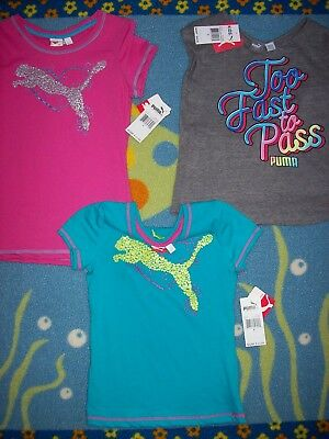 PUMA Shirt Girls Casual Sport Active S M L Fuchsia Teal Gray Cat Logo New