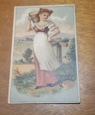 Antique pre 1900s Adv Trade Card - Woman with a bucket
