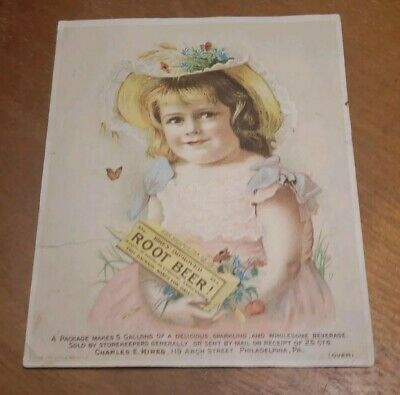 Antique pre 1900s Adv Trade Card- Charles E Hires Root Beer Girl Philadelphia PA