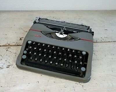 1950s Hermes Typewriter with case, Hermes Baby Typewriter Gull Wing Ribbon Cover