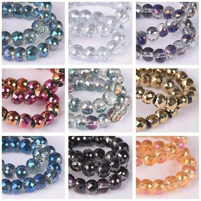 60pcs 6mm Barrel Rondelle Faceted Crystal Glass Loose Spacer Craft Beads lot