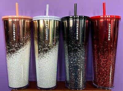 STARBUCKS 2019 Holiday Limited Edition Cascading Glitter Tumbler 24oz Venti