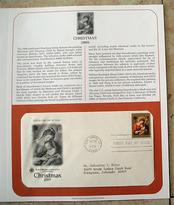 First Day Cover FDC Stamp # 4424 Christmas Madonna Child Sassoferrato 44 c 2009
