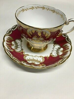VTG Tuscan Fine English Bone China Footed Teacup And Saucer Maroon Ornate Gold