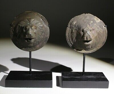 SUPERB PAIR OF ROMAN BRONZE MILITARY SHEILD MOUNTS  - CIRCA  2nd Century AD