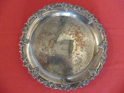 Vintage Grape-Edged Design, Sheffield Made, Silver on Copper, Circular Tray