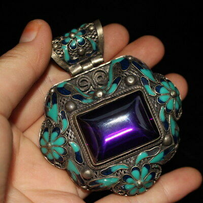 Decor Unique Miao Silver Carving Chrysanthemum Inlay Purple Beads Noble Pendant