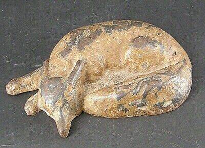 ANTIQUE 19th Century cast iron doorstop, curled sleeping FOX