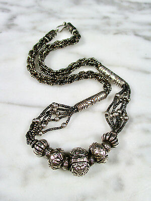 Antique Tribal Sterling Silver Repousse Beaded 6 Strand Necklace East Asian