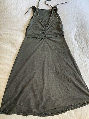 Peekaboo maternity dress grey black stripe nursing M EUC