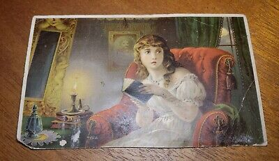 """Antique pre 1900's Adv Trade Card - Dr Jaynes Tonic Vermifuge """"Ghost Story!"""""""