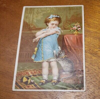 """Antique pre 1900's Adv Trade Card - Dr Jaynes Tonic Vermifuge """"Naughty Puss"""""""