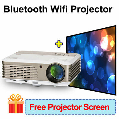 Android HD Projector Home Theater Bluetooth HDMI USB Free 84'' Projectior Screen