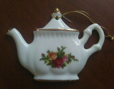 "Royal Albert Old Country Roses Teapot Christmas Ornament, 3-3/4"" W. x 2-3/4"" H."