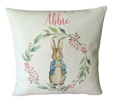 Personalised Peter Rabbit Cushion Cover Christening Baby Boy Birthday Gift PR06
