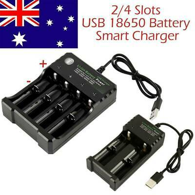 2 4 Slots Smart USB 18650 Battery Charger for 3.7V Rechargeable Battery