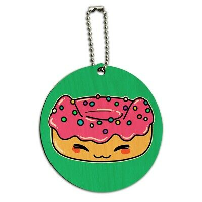 Cute Kawaii Cat Donut Round Wood Luggage Card Suitcase Carry-On ID Tag