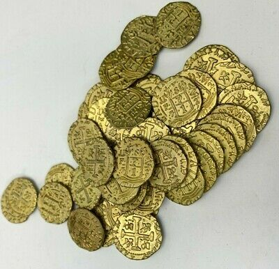 Metal Pirate Coins 50 GOLD Spanish Doubloon Replicas Fantasy Coin Treasure