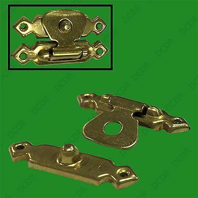 1x Miniature Size Antique Style Brass Latch Fastener, Jewellery Box Toggle Catch