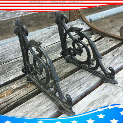 2PCS  High-grade Antique Style Cast Iron Brackets Garden Hanging Hooks Shelf