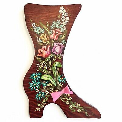 Vintage 1960s Hand Painted Floral Appliqué Carved Wood Shoe Hanging Wall Decor
