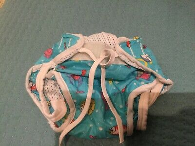 baby swimwear, small, Boots, blue with sea creature design, polycester
