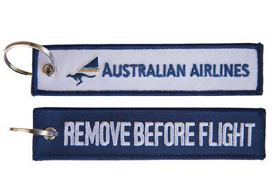Australian Airlines Remove Before Flight Key Ring Luggage Tag - NEW