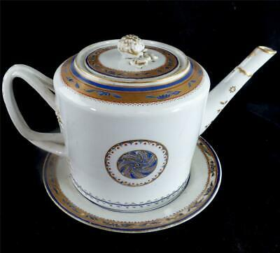 Antique Late 18Th Century Chinese Jiaqing Porcelain Teapot On Stand