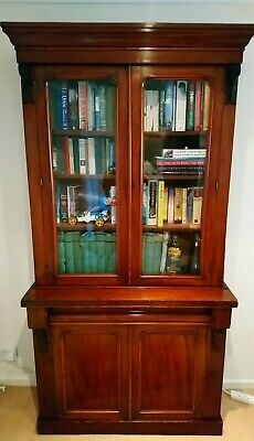 Original 1890's Victorian Library bookcase over cabinet