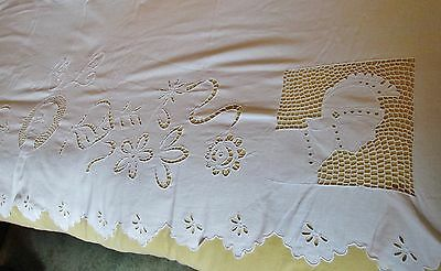 Antique Italian Sheet CENTURION HEADS & FEMALE SILHOUETTE Cutwork K L Monogram