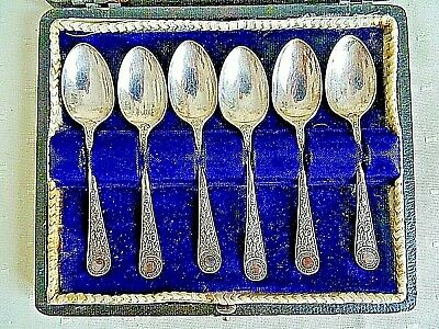 Antique Boxed Set Six Cooper Bros Sheffield Silver Plate Bright Cut Tea Spoons