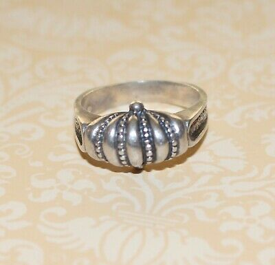 Vintage grandmas estate sterling silver puffy pebbled fan carved band ring 7.25