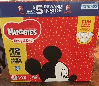 Huggies Snug And Dry Disposable Size 1 Disposable Diapers 148 Count Mickey Mouse