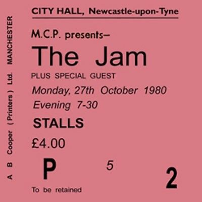 The Jam/Paul Weller Concert Coasters Ticket October 1980 High quality Coaster