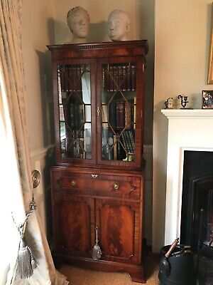 Beautiful flame mahogany bookcase workstation cabinet display Georgian bureau