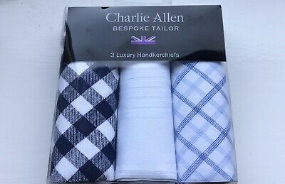 Charles Allen Bespoke Mens Hankerchiefs New Boxed )