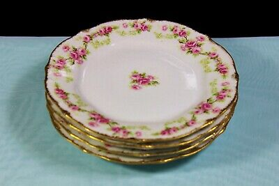 "Lot of 4 Antique (1900-1914) Elite Works, Limoges, France, 6.5"" (16.5 cm) Plates"
